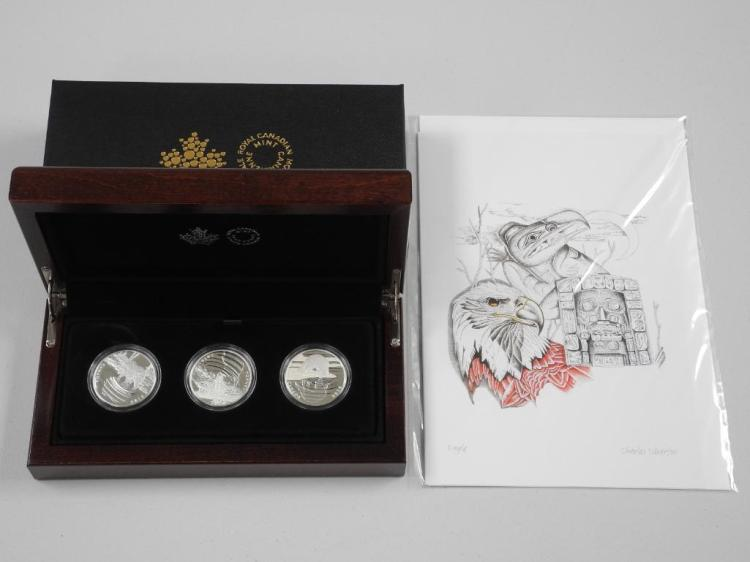 RCM - 2016 'Reflections of Wildlife' 3 Coin Set, .9999 Fine Silver LE with C.O.A. Mahogany Display Case and Art Card by: 'Charles Silverfox' Estimate: $150-$250.00