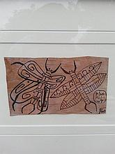 Norval Morrisseau (1932-2007-). Untitled (Butterfly Messengers). Signed in Cree Syllabics Copper Thunderbird and Dated au verso 1960. Acrylic on birchbark. 3