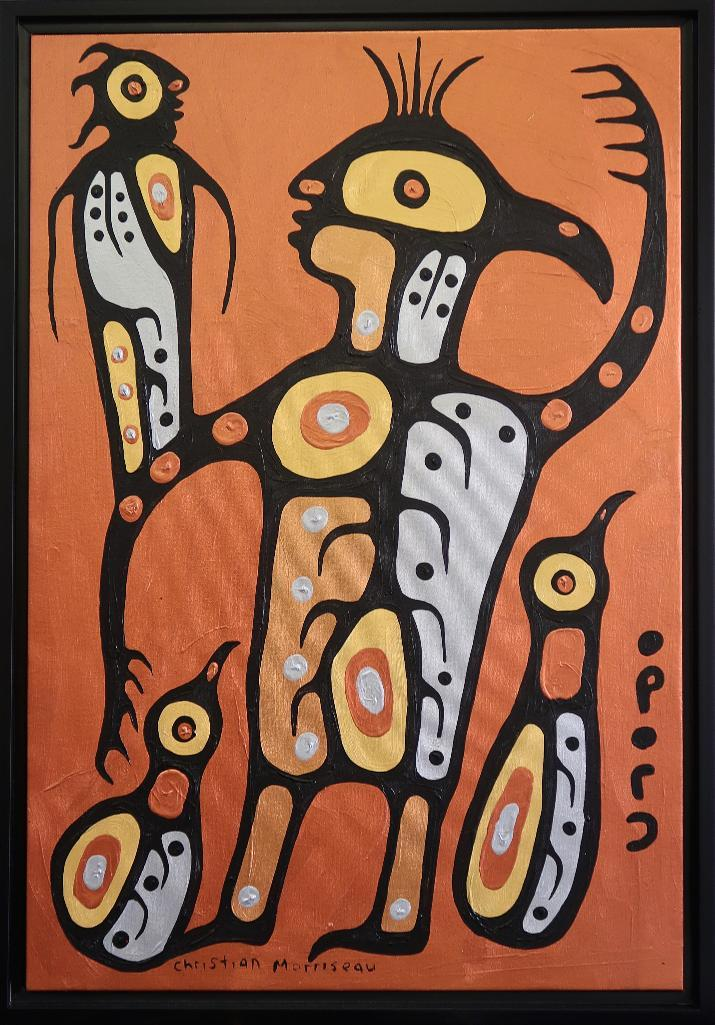 Christian Morrisseau (1969-) Spiritual Grandfather. Signed in Cree Syllabics and English. Signed and Date in English au verso. Acrylic. 35.625