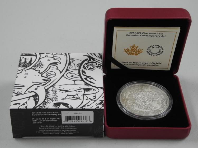 RCM - 'Tim Bernard' 'Canadian Contemporary Art' 2014 .9999 Fine Silver $30.00 Coin. LE with C.O.A. (2oz Fine Silver) Estimate: $100-$225.00