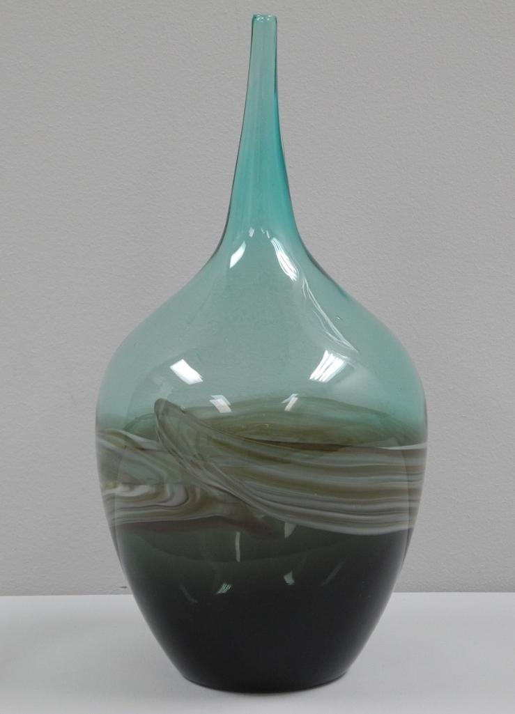 Turquoise Wide Bottom Taper Glass Vase. Estimate: $300-$400