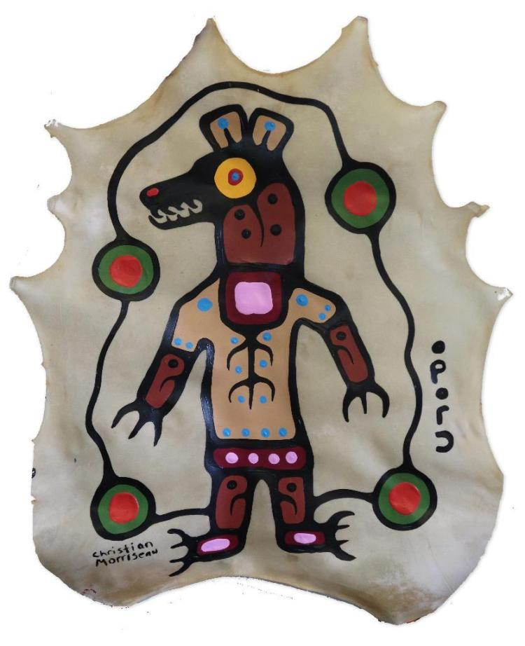Christian Morrisseau: 'Woodland Bear' Signed in Cree Syllabics and English. Signed and Dated. Acrylic on deerskin. 36.5