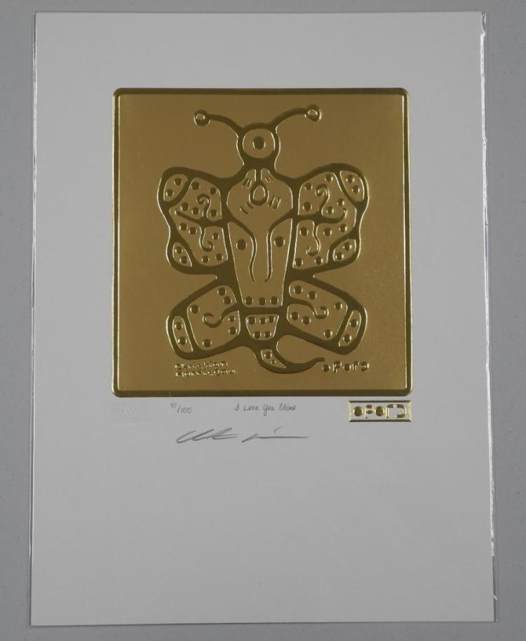 Christian Morrisseau (1969-) 24kt Gold Motif 'I Love you Chimo' Hand Signed. LE / 100 Worldwide. Sealed with Raised 24kt Gold Cree Syllabic Signature. 9x12 unframed with C.O.A. Estimate: $150-$300.00