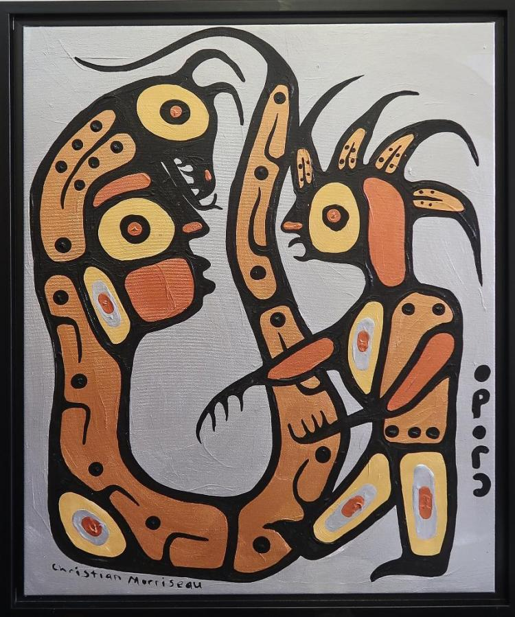Christian Morrisseau (1969-) 'Ojibway Medicine Man' Signed in Cree Syllabics and English. Signed and Dated in English au verso. Acrylic on Board. 28.125