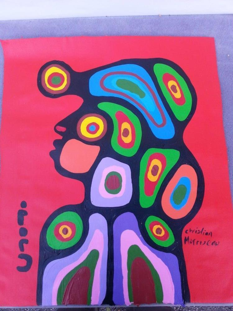 Christian Morrisseau (1969-). 'Child' Signed in Cree Syllabics and English. Signed and Dated in English. Acrylic on canvas. 23