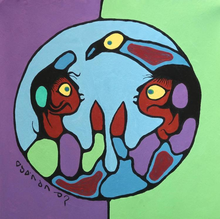 Norval Morrisseau (1932-2007-): 'Untitled' (Couple in the Circle of Life) Signed in Cree Syllabics Copper Thunderbird. Signed and Dated in English. Acrylic on canvas. 32