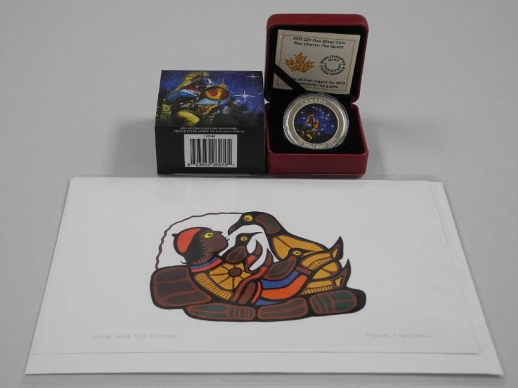 'RCM' 2015 - .9999 Fine Silver $25.00 Coin Star Charts - 'The Quest' High Technology, LE with C.O.A. with Norval Morrisseau Art Card. Estimate: $60-$120.00