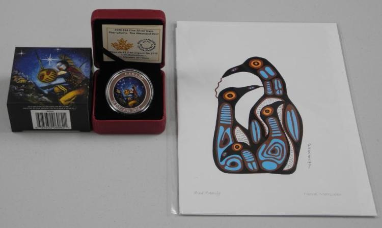 'RCM' 2015 - .9999 Fine Silver $25.00 Coin Star Charts - 'The Wounded Bear' High Technology, LE with C.O.A. with Norval Morrisseau Art Card. Estimate: $60-$120.00