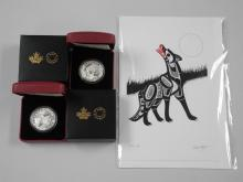 Lot (2) RCM 2015 - .9999 Fine Silver $10.00 Coins 'Canoe Across Canada' LE with C.O.A. and Art Card - Timber Wolf by Richard Shorty. Estimate: $60-$120.00