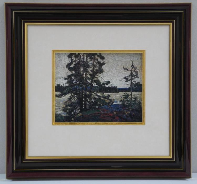 'Tom Thomson' (1877-1917) Master Edition 'Phoenix Process' 'Algonquin' Medium: Oil on Panel. 8 5/16 x 10 3/8. Marque of Authenticity in 24kt Gold on Reverse with Red Seal. Gallery: 21 x 20 1/2 Estimate: $1500-$2500.00