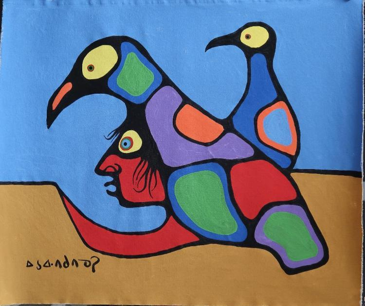 Norval Morrisseau (1932-2007) Untitled (Shaman and Two Birds) Signed in Cree Syllabics in Copper Thunderbird. Signed and Dated. Acrylic on Paper. 31.5