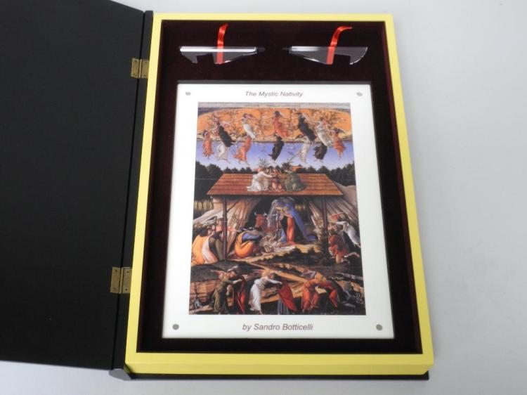 'Edgeless Paintwork - Colourized Minting' 'The Mystic Nativity' by 'Sandra Botticelli' 'Niue' Switzerland 2013, 15 Part = 1 Coin, Edgeless Colourprinted Silver Bars to Make 1 Large Coin. 174x250mm (499.50g) LE/300 Worldwide with C.O.A. - Deluxe Case