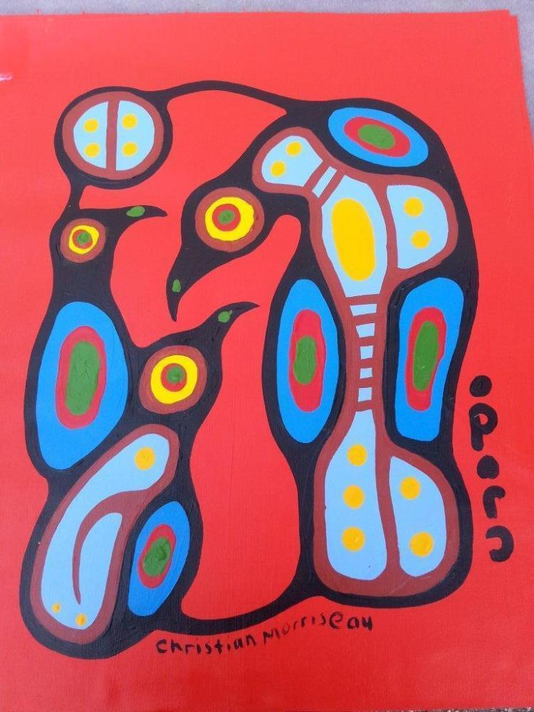 Christian Morrisseau (1969-). 'Family Unity' Signed in Cree Syllabics and English. Signed and Dated. Acrylic on canvas. 24