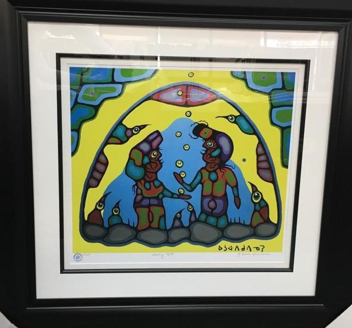 Norval Morrisseau (1931-2007) Shaking Tent' Plate Signed - Cree Syllabics. #1 Giclee. Family Seal. Gallery Frame. Estimate: $350-$400.00