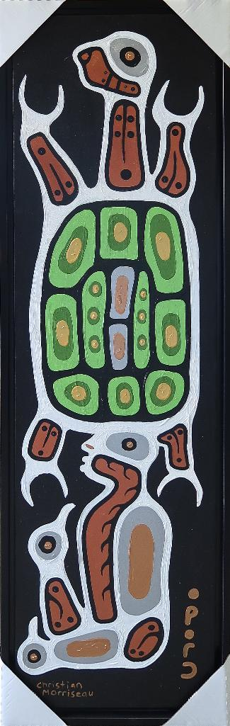 Christian Morrisseau (1969-) 'Receiving Name and Colours from the Grandfathers' Signed in Cree Syllabics and English. Signed and Dated. Acrylic on Canvas. 63.75