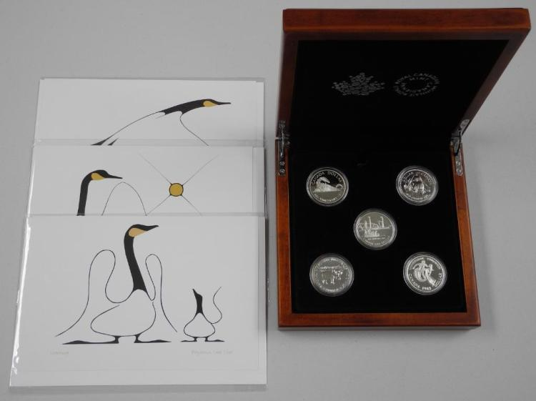 RCM - Canada 5 Silver Dollar Collection - Wood Case with (3) 'Benjamin Chee Chee' Art Cards. Estimate: $100-$200.00