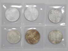 Lot of (6) Austrian 50 Shillings