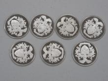 Lot of (7) Silver Franklin Mint Collector Coins