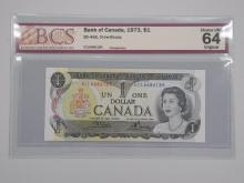 Bank of Canada 1973 $1.00 BC-46b Crow-Bouey CHOICE UNC 65 ORIGINAL
