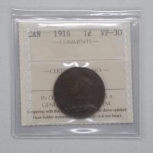1916 Canadian 1 Cent Coin VF-30 ICCS CERTIFIED