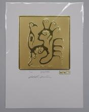 Christian Morriseau 24kt Gold Motif Image - Ojibway Brothers - Limited Edition to Only 100 - Hand Signed by the Artist, With Certificate of Authenticity and