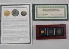 Byzantine Gold Solidus, Bronze Follis and Half Follis - With Background Story and Certification -