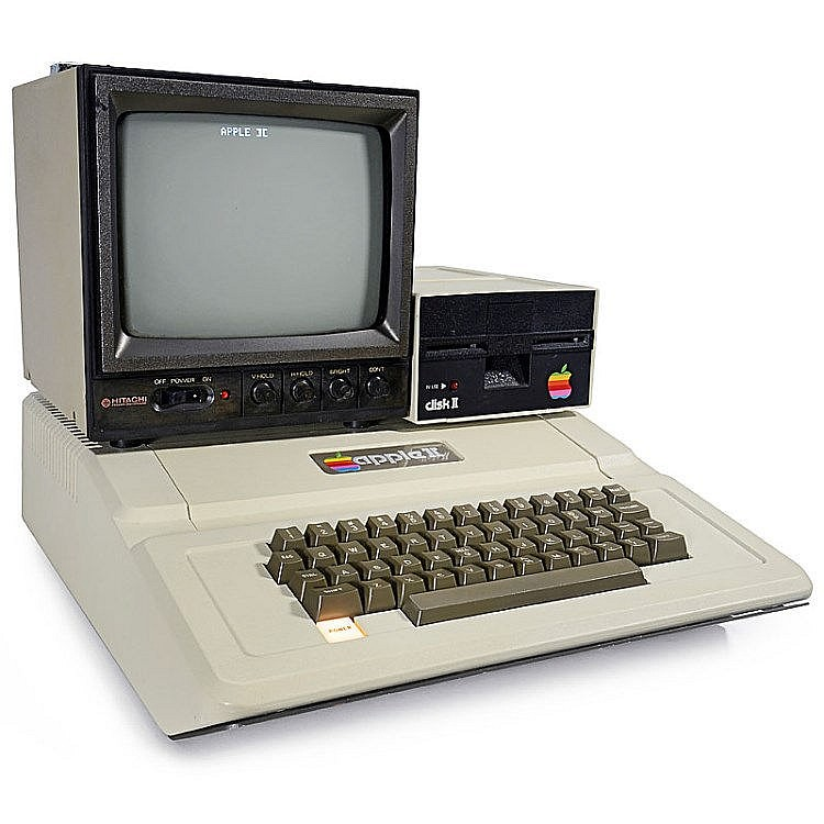 apple ii computer with monitor and disc drive, 1977