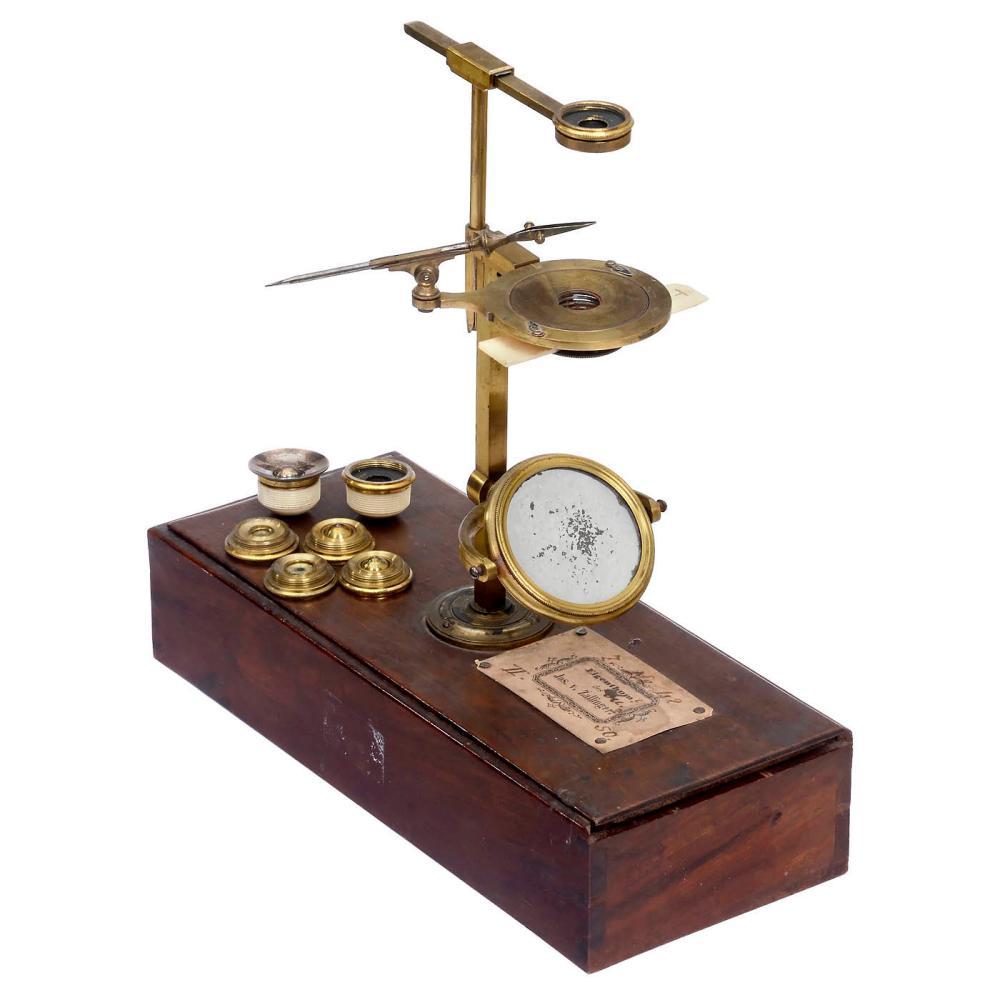 English Ellis Aquatic-Type Brass Microscope with Box Base, c. 1770