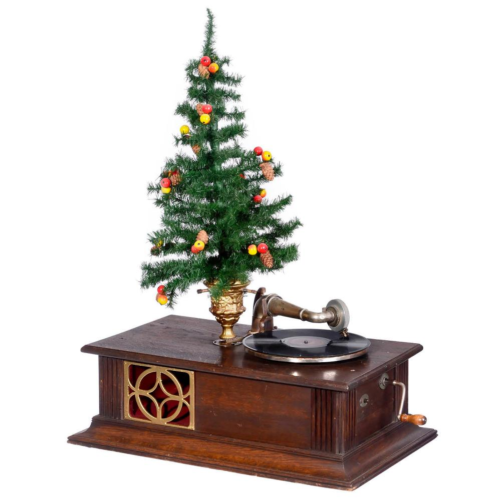 Gramophone with Revolving Christmas Tree Stand, c. 1910.