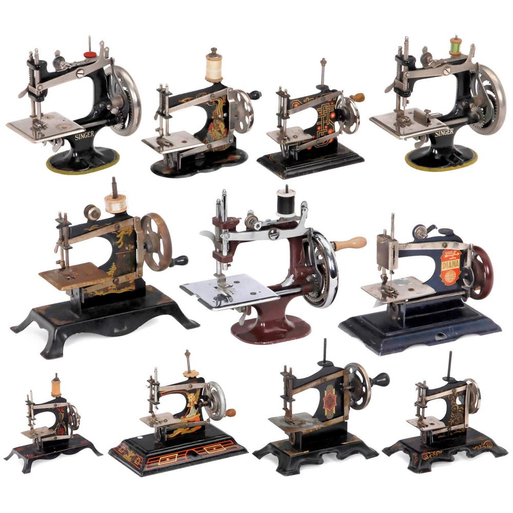 Eleven Toy Sewing Machines