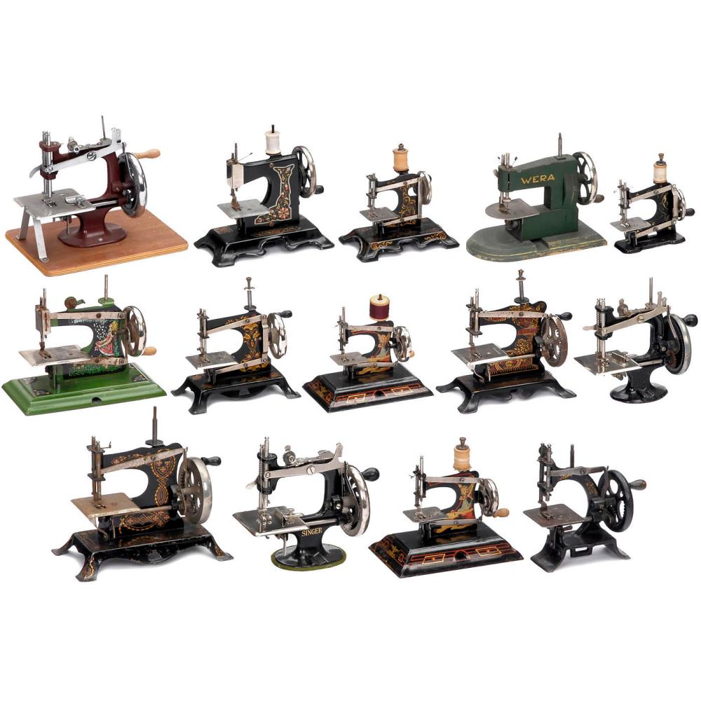 Fourteen Toy Sewing Machines