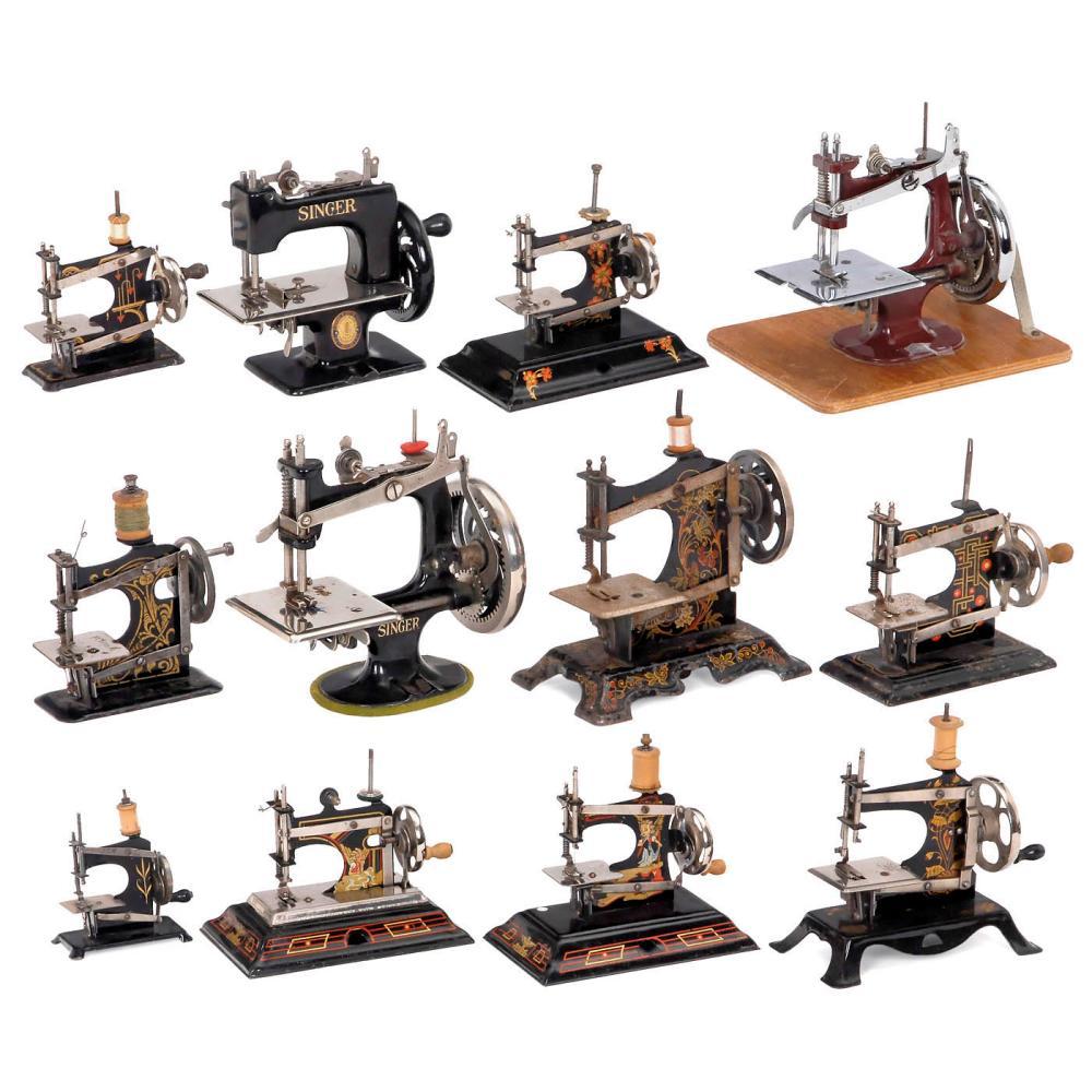 Twelve Toy Sewing Machines