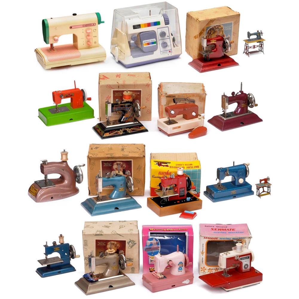Seventeen Toy Sewing Machines