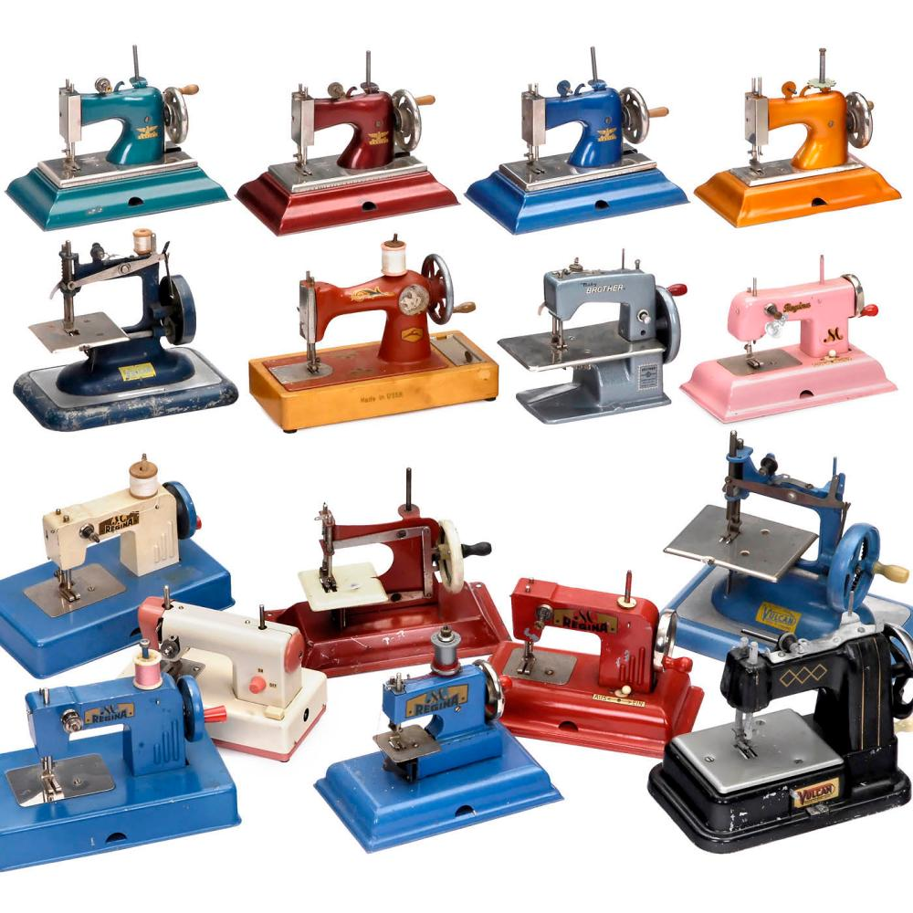 Nineteen Toy Sewing Machines