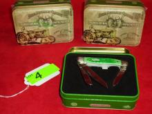 (3) Case XX John Deere Medium Stockman knives in Collector Tin
