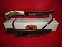 Silver Stag D2 Crown Series Alaskan Camper (AC11.0) D2 Tool Blade, Shed Deer or Elk Antler Handle, Handmade Leather Sheath