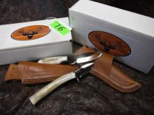 (2) Silver Stag Sheath Knives: D2 Slab Series Whitetail Caper (WC3000) Steel Blade, Shed Elk or Deer Antler Handle, Handmade Leather Sheath; Elk Stick Series The Squirrel (TS2.0) Steel Blade, Shed Elk or Deer Antler Handle, Handmade Leather Sheath