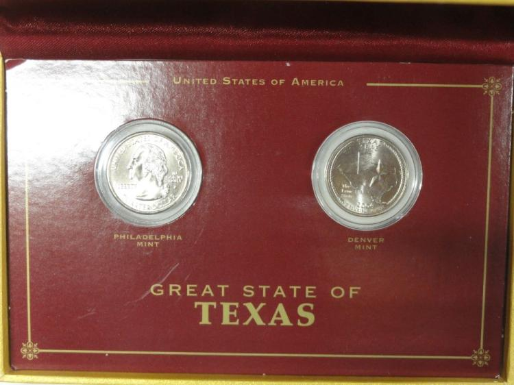 (2) 2004 P&D TEXAS STATE QUARTERS IN PRESENTATION BOX