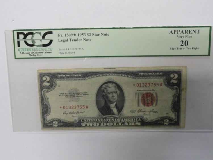 PCGS GRADED APPARENT VERY FINE 20 (EDGE TEAR AT FAR RIGHT) 1953 $2 RED SEAL STAR NOTE