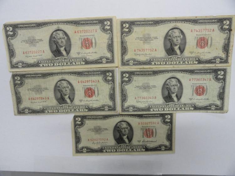 (5) RED SEAL $2 NOTES: (1) 1953A, (2) 1953B, (2) 1953C