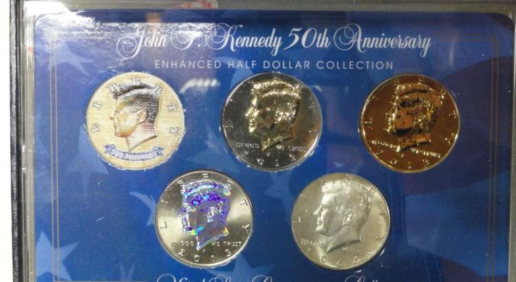 JOHN F. KENNEDY 50TH ANNIVERSARY ENHANCED HALF DOLLAR COLLECTION. 1964 SILVER HALF, COLORIZED 50TH ANNIVERSARY 2013, GOLD REVERSE PROOF 2013, GOLDEN PROOF 2013, SILVER REVERSE PROOF 2013, IN PRESENTATION BOX