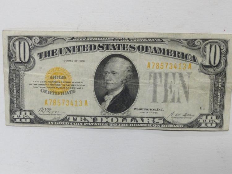 SERIES OF 1928 TEN DOLLAR GOLD CERTIFICATE NOTE. WOODSON/MELLON SIGNATURES