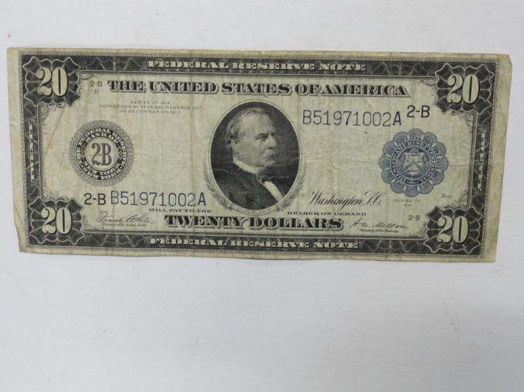 SERIES OF 1914 TWENTY DOLLAR FEDERAL RESERVE LARGE SIZE NOTE. WHITE/MELLON SIGNATURE