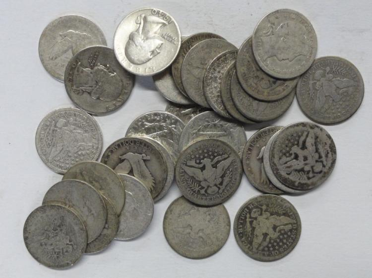 (29) PRE-1965 SILVER QUARTERS. (16) BARBER QUARTERS CIRCULATED, (6) STANDING LIBERTY QUARTERS CIRCULATED, (7) WASHINGTON QUARTERS, CIRCULATED