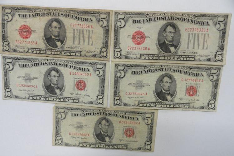 (5) RED SEAL FIVE DOLLAR NOTES: (2) SERIES OF 1928, (3) SERIES OF 1953