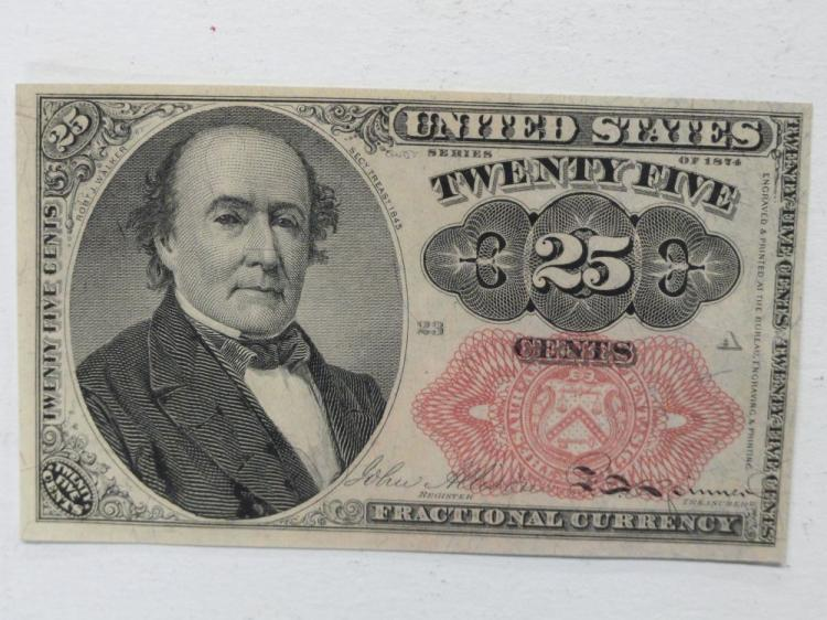 UNITED STATES 25 CENT FRACTIONAL CURRENCY. SERIES OF 1874