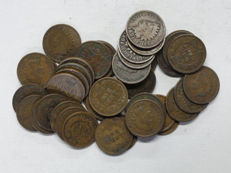 (44) INDIAN HEAD CENTS: 1890, (5) 1900, (5) 1901, (5) 1902, (10) 1903, (3) 1904, (7) 1905, (5) 1906, (2) 1907, 1908