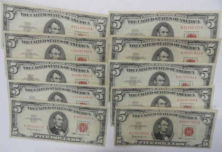 (10) SERIES OF 1963 RED SEAL FIVE DOLLAR UNITED STATES NOTE
