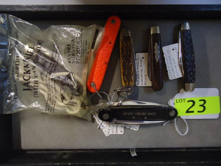 (6) U.S. RIGGING & UTILITY KNIVES, KA-BAR, CAMILLUS, KUTMASTER, LOGAN-SMITH, PARATROOPERS SURVIVAL KNIFE