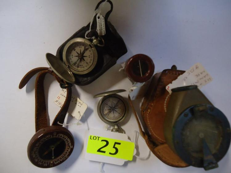 WWII WRIST STYLE COMPASS, WWI MARCHING COMPASS WITH CASE, U.S. WATCH TYPE COMPASS, U.S. WWI COMPASS WITH CASE, C-1 VEST COMPASS